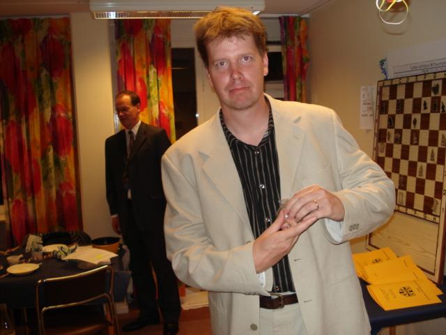 Olle Häggström, mottagare av veteranmärket i silver för 21 medlemsår i Manhem