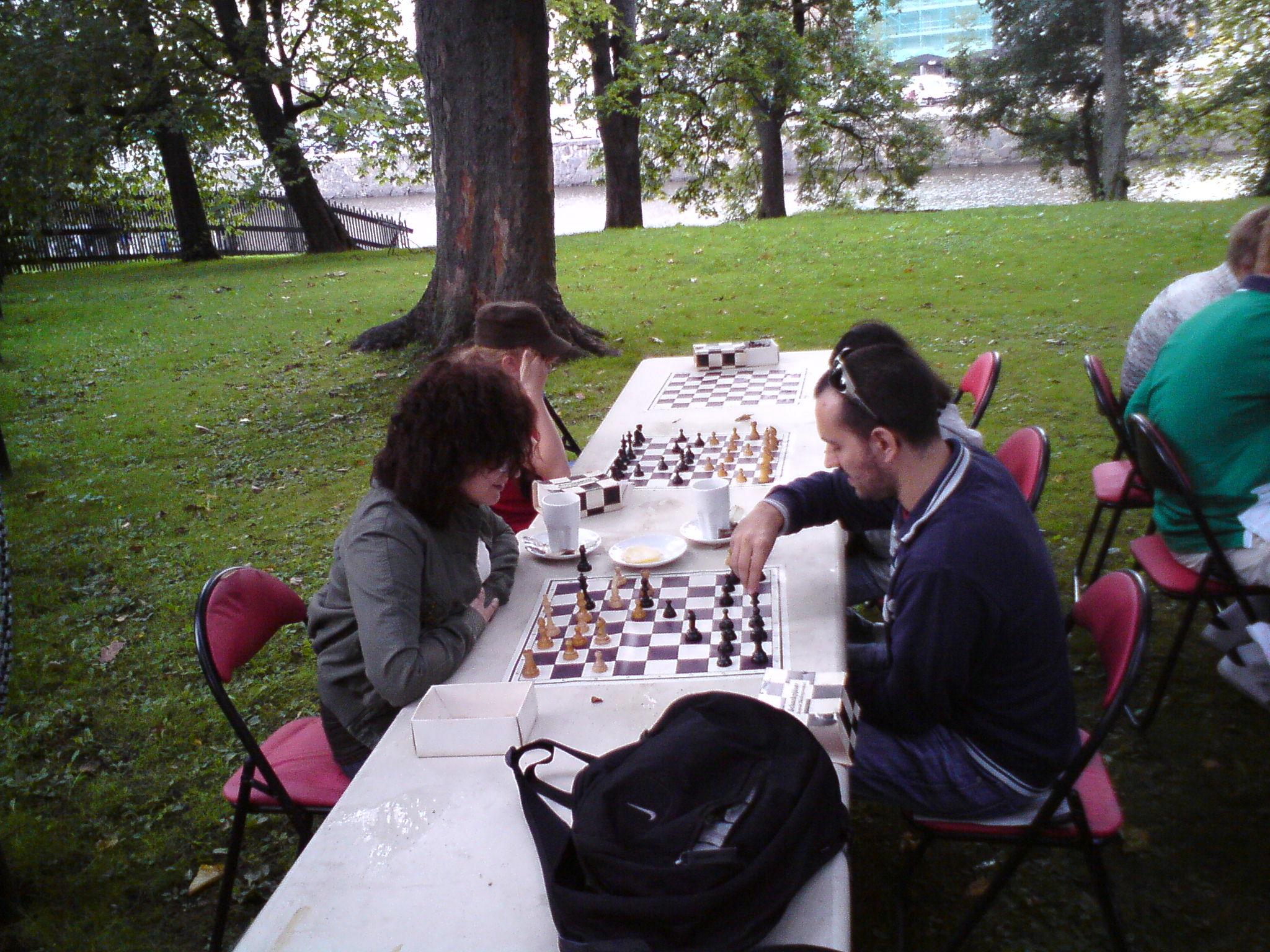 Under träden i Trädgårdsföreningen fanns en gemytlig spelplats.