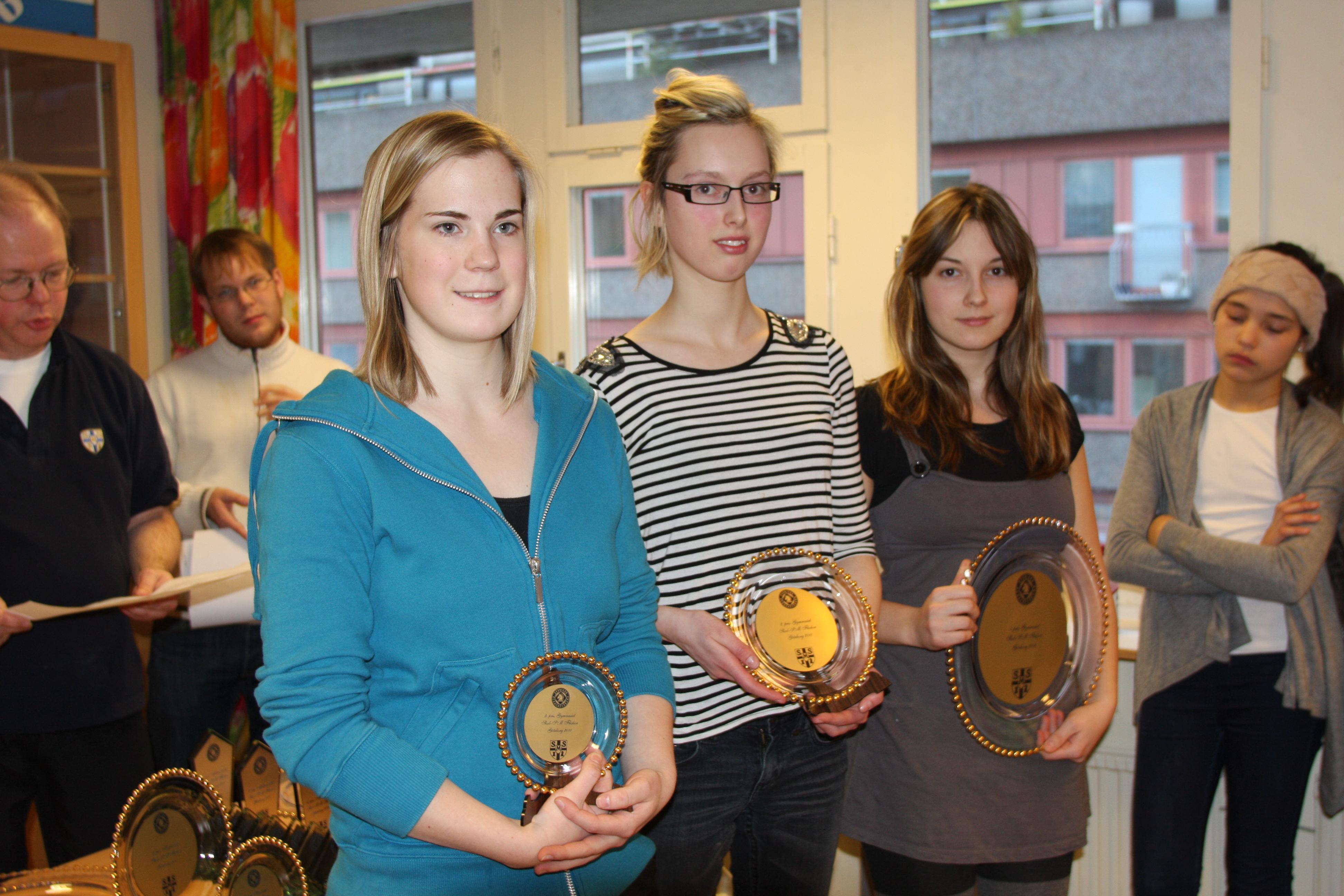På prispallen i gymnasieklassen, fr.v. Linnéa Ahl (trea), Caroline Lindberg Hansen (tvåa) och Nicole Loginger (segrarinna).